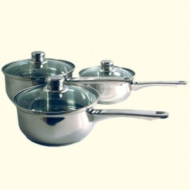 3-piece Stainless Steel Saucepan Set & Glass Lids
