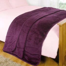 "Luxury Faux Mink Throw 79"" X 95"" in Grape"