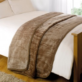 "Luxury Faux Mink Throw 79"" X 95"" in Mink"