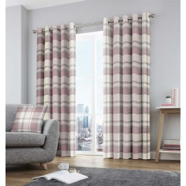 Balmoral Check Ready Made Curtains 90ins Wide x 90ins Drop in Blush (E)