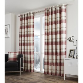 Balmoral Check Ready Made Curtains 90ins Wide x 72 ins Drop in Ruby (E)