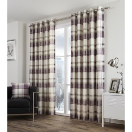 Balmoral Check Ready Made Curtains 90ins Wide x 72 ins Drop in Plum (E)