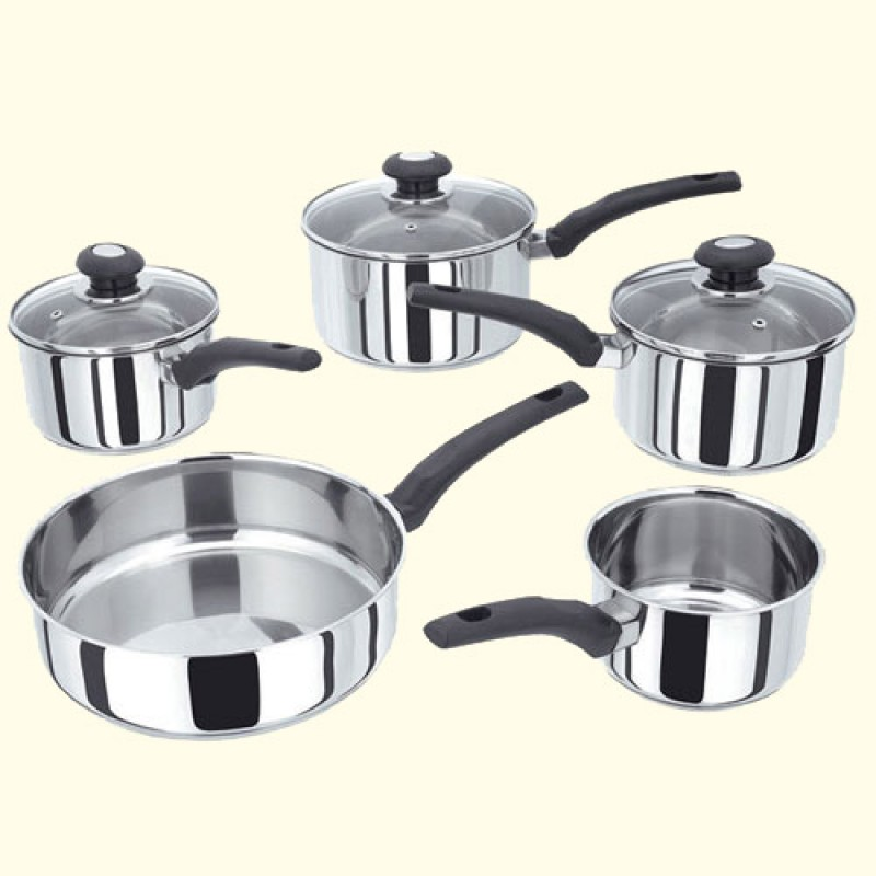 Horwood SS 5 piece Saucepan Set with Glass Lids