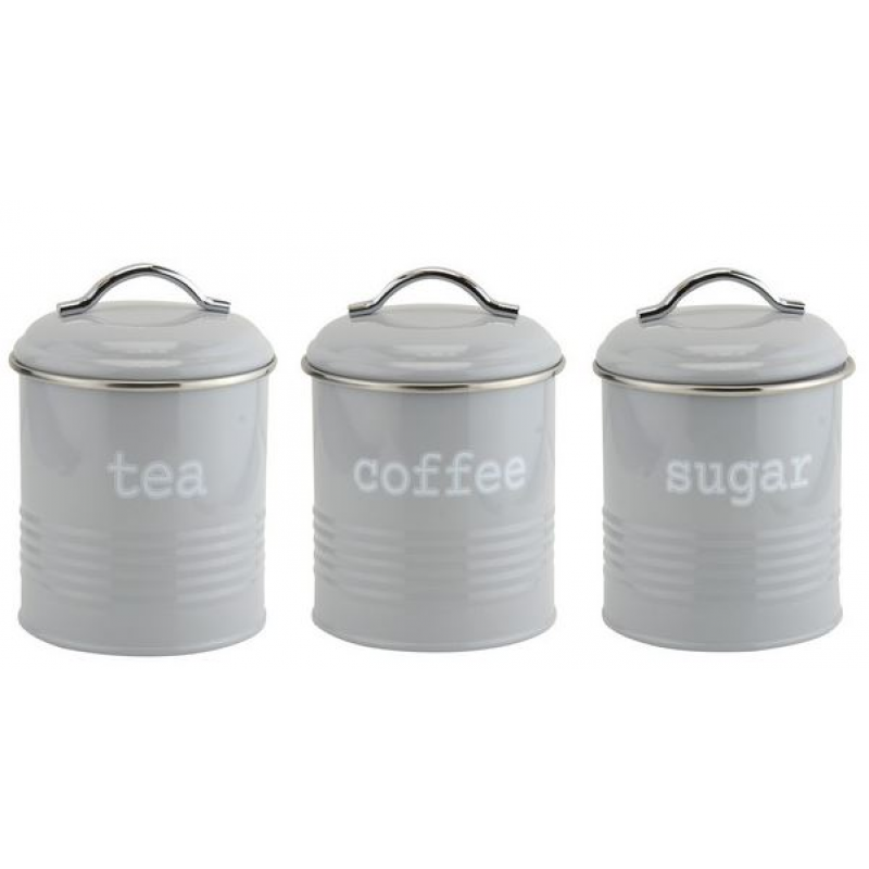 Tea,Coffee and sugar canister in Grey